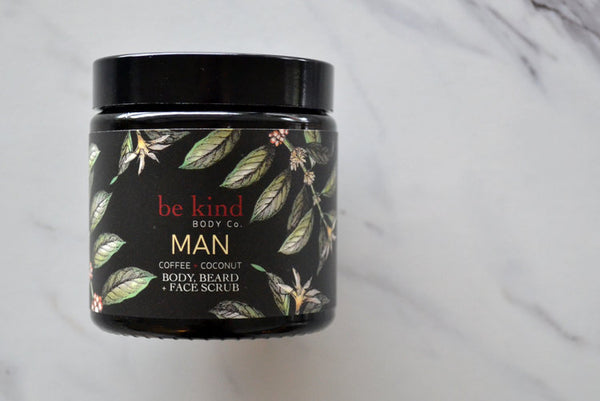 MAN body, beard + face scrub