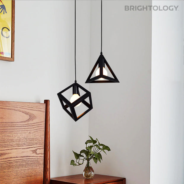 Industrial Wrought-Iron Pendant Lamps
