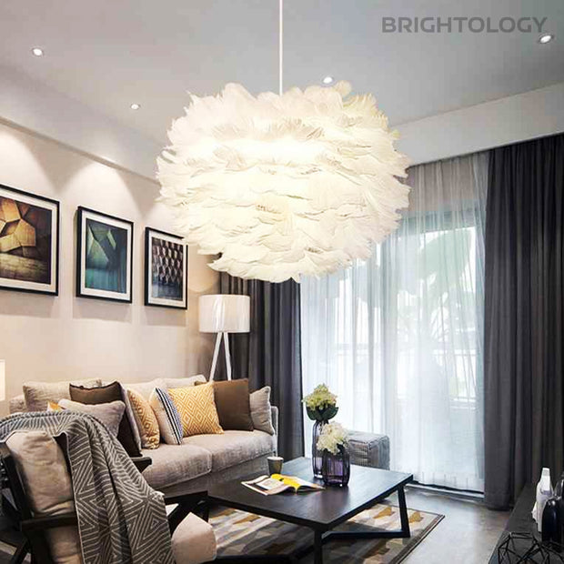 White Feather Chandelier