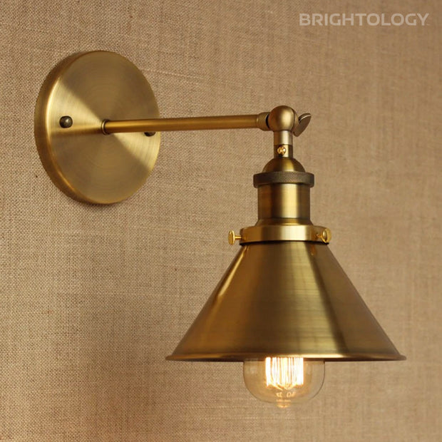 Vintage  Brass Adjustable Wall Lamp
