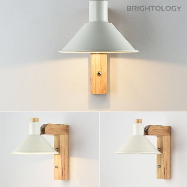 Wooden Post Cone Wall Lamp
