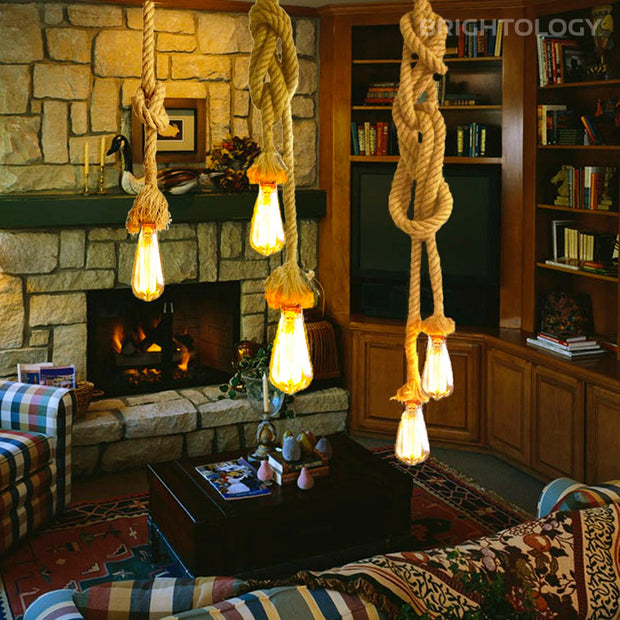 Jute Rope Double Pendant Lamp