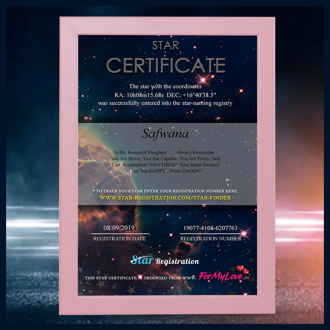 Name a Star Certificate (With Pink Frame)