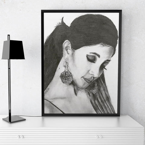 Customized Pencil Portrait For Gifting Him/Her With Frame