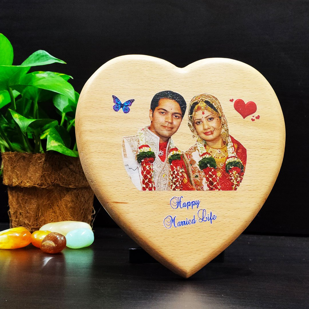 Personalized Color print On Heart Shape Wooden Panel.