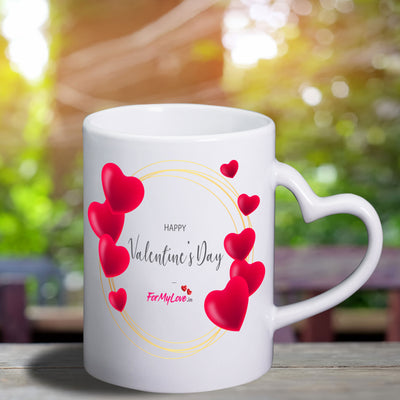 Personalized Heart Shaped Handle Valentines Day Mug