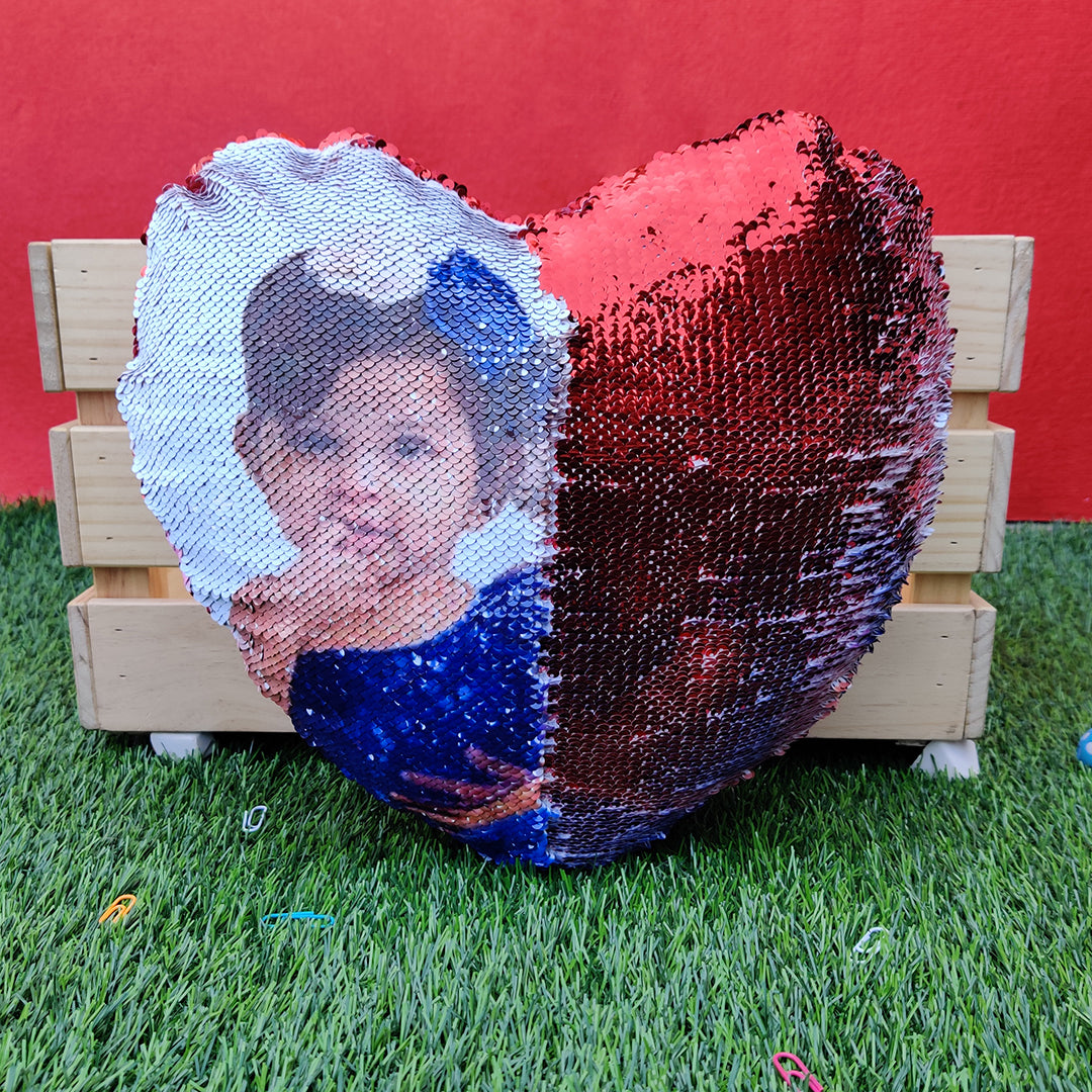 Personalized Heart Shape Magic Cushion (Red)