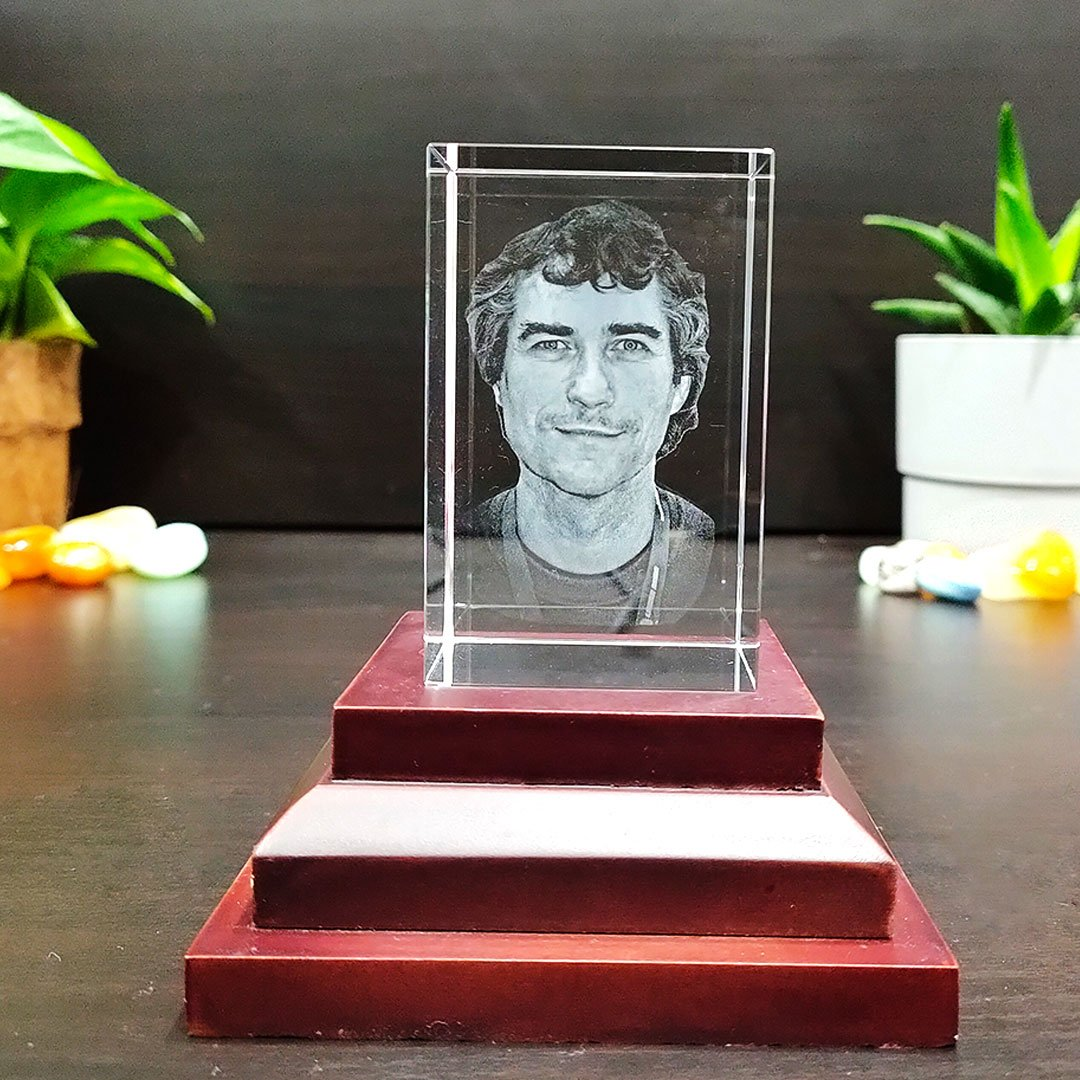 Personalized 2D Crystal Rectangle Cube With Photo