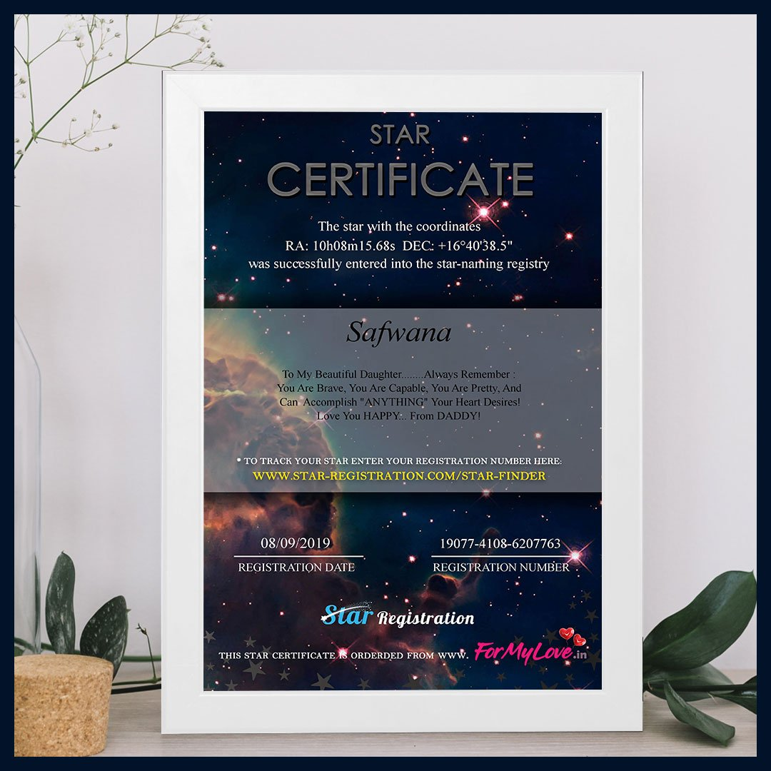 Name a Star Certificate