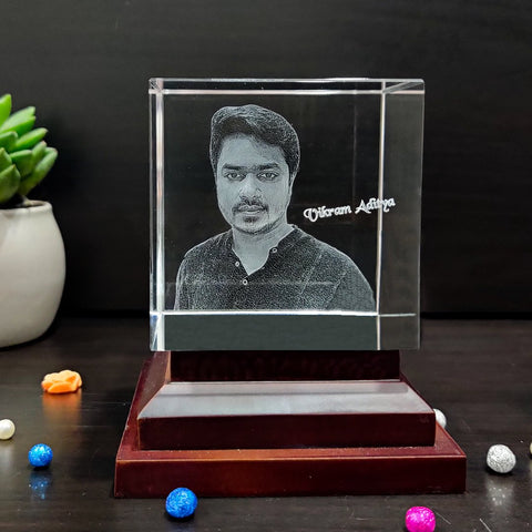 Personalized 3D Crystal Square Cube