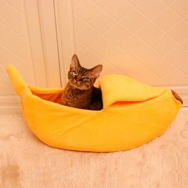 Fluffy Warm Soft Plush Breathable Bed Banana Pet Beds