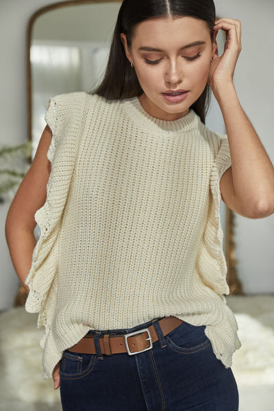Juliana Sleeveless Scalloped Sweater