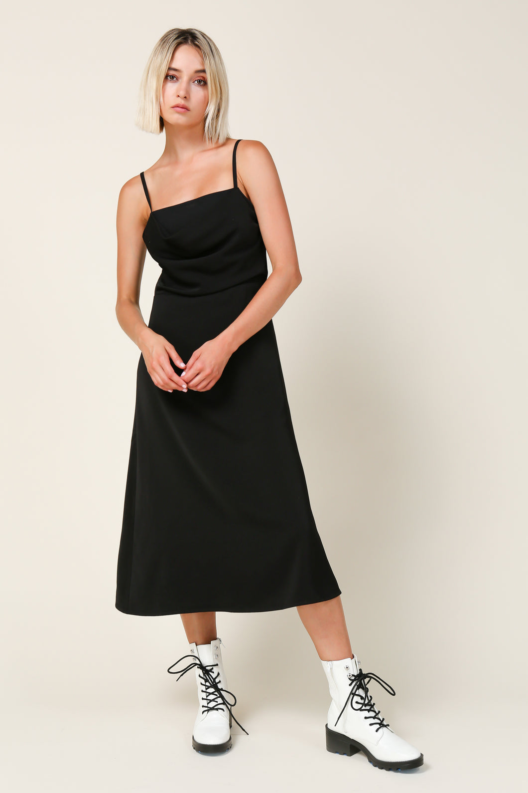 Sabrina Draped Neck Midi Dress