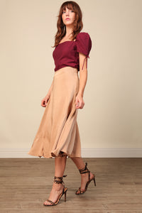 Elle Satin Midi Skirt