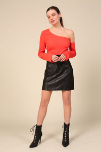 River Vegan Leather Skirt