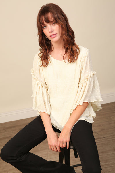 Kate Chiffron Flutter Sleeve Top