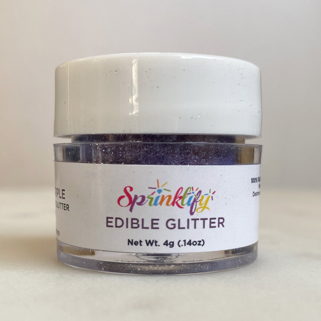 Edible Glitter by Sprinklify - DEEP PURPLE - Food Grade High Shine Dust for Cakes