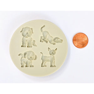 PET VARIETY MOLD - 4 CAVITY DOGS & CAT SILICONE MOLD