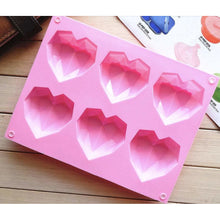 Load image into Gallery viewer, DIAMOND HEART SILICONE MOLD (6 CAVITY)