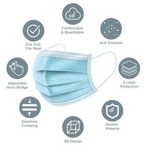 FDA approved 3-Ply Disposable Mask constructed to block out particles