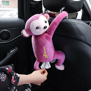 Creative Cartoon Monkey Home Office Car Hanging Paper Napkin Tissue Box Cover Holder Portable Paper Box - Best LuxorShop