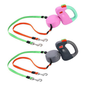 Adeeing Automatic Retractable Walking Double Lead Leash Dog Traction Rope for Pet Outdoor Walking - Best LuxorShop