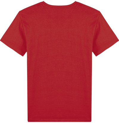 T-SHIRT HOMME COL V ROUGE UNI <BR> MADE IN FRANCE & COTON BIO - Bois Eden