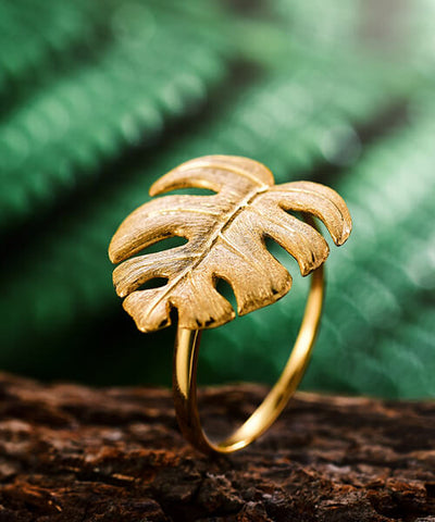 BAGUE FEUILLE OR   <BR/>   Monstera