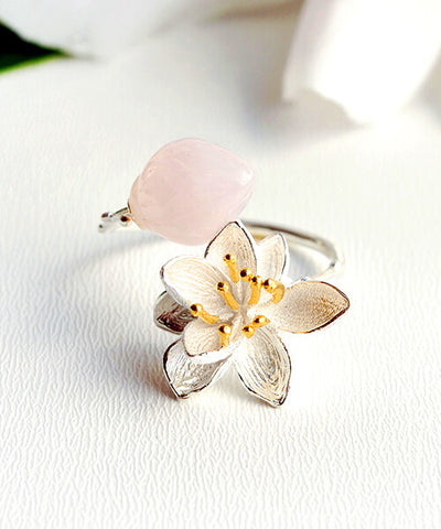 BAGUE FLEUR DE LOTUS   <BR/>   Quartz rose