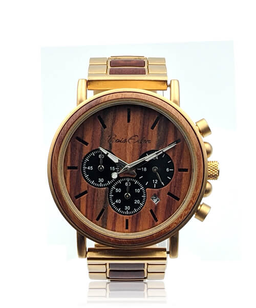 MONTRE EN BOIS HOMME <BR> BE Terradium Or Octopale