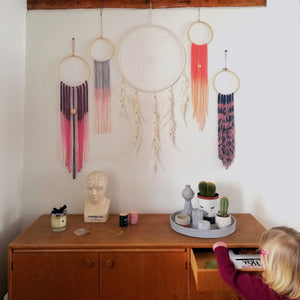 Dreamcatcher Talisman - Grey Pink Ombre-Wall Hangings-EKA