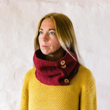Load image into Gallery viewer, Wine red organic cotton cowl