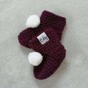 plum bobble booties