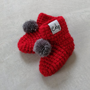 Red Pom-Pom Baby Booties