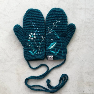 Embroidered Wild Flower Mittens-Mittens-EKA