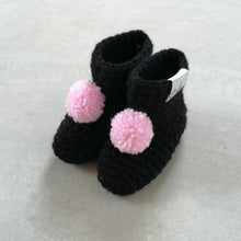Load image into Gallery viewer, black pom pom booties