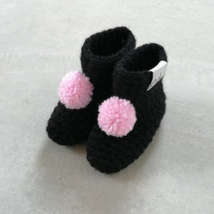 black pom pom booties