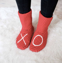 Load image into Gallery viewer, Red XO Slipper Socks