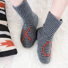Load image into Gallery viewer, Grey XO Slipper Socks EKA