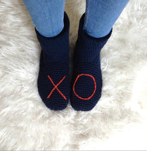 Load image into Gallery viewer, Navy Blue XO Slipper Socks