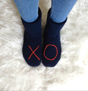 Navy Blue XO Slipper Socks