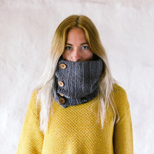 Load image into Gallery viewer, grey organic cotton cowl scarf