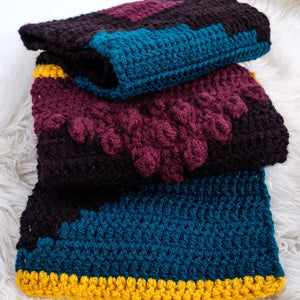 Pixelated Colour Block Scarf-Scarves-EKA