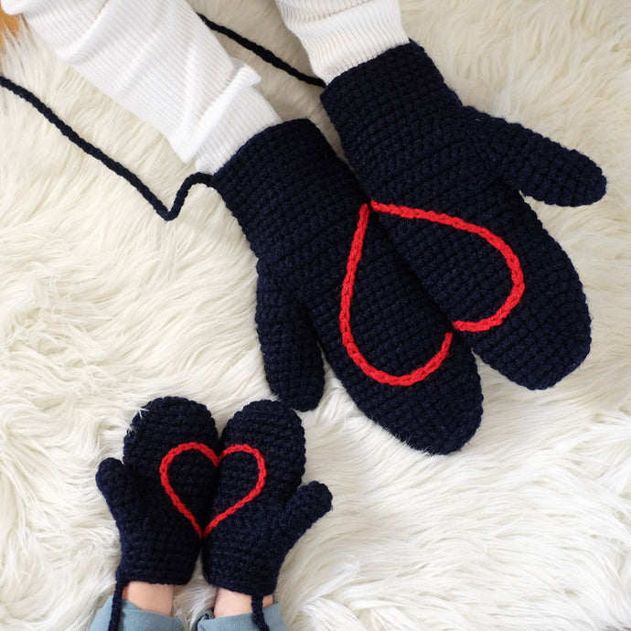 Daddy And Me Matching Heart Mittens-Mittens-EKA