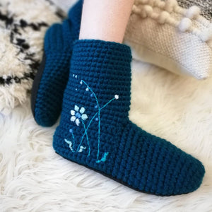Slipper Socks With Embroidered Flowers - Adults