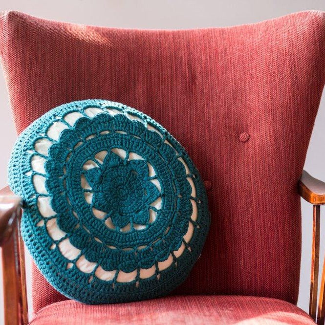 Organic Cotton Crocheted Cushion-Cushions-EKA