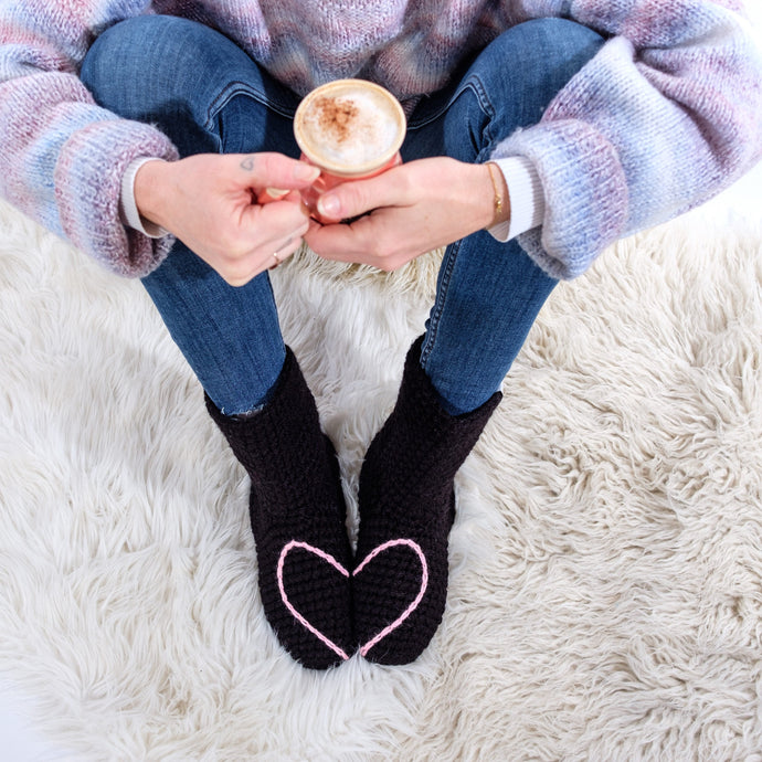Slipper Socks With Love Heart - Adult-Slipper Socks-EKA