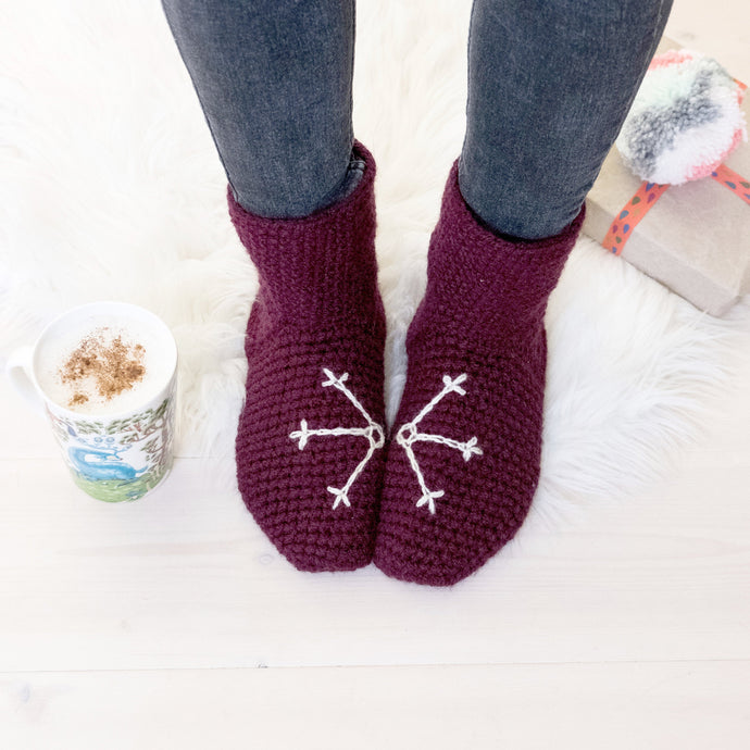 Slipper Socks With Snowflake Design-Slipper Socks-EKA