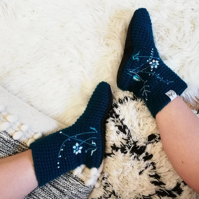 Slipper Socks With Embroidered Flowers - Adults-Slipper Socks-EKA