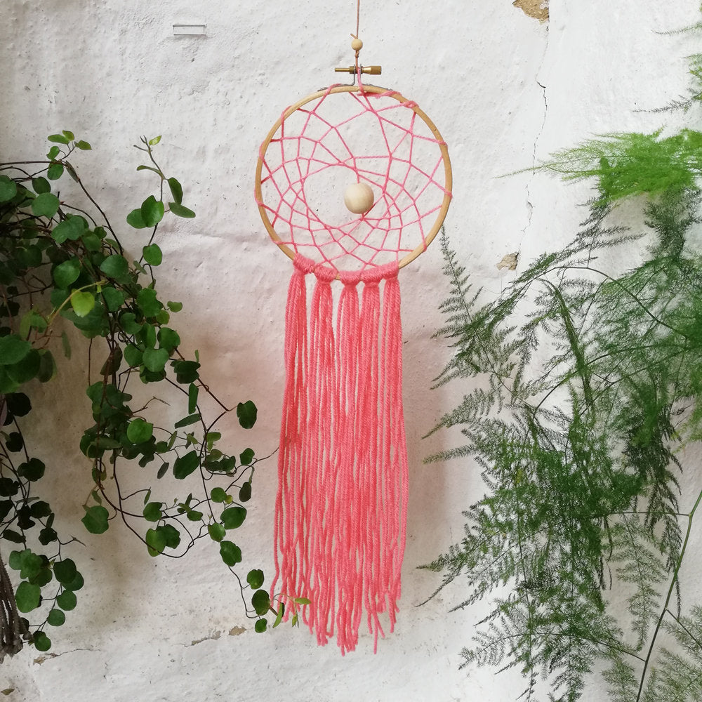 Dreamcatcher - Coral With Web-Wall Hangings-EKA